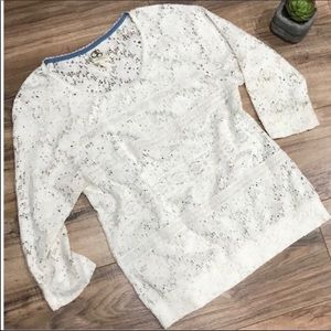 Anthropologie One September Marigola Lace Pullover